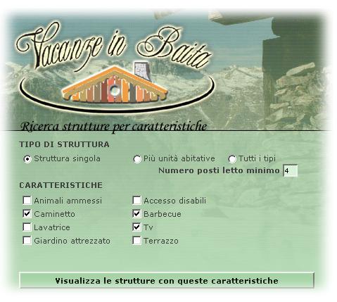 Motore ricerca Vacanze in Baita